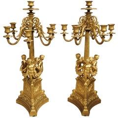 Pair of Antique French Gilt Bronze Candelabras