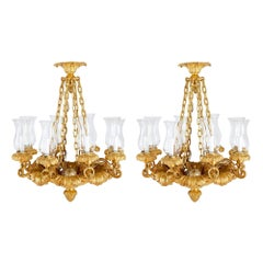 Pair of Antique French Gilt Bronze Chandeliers