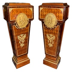 Pair of Antique French Gilt Bronze Mounted Parquetry Pedestals
