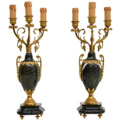 Pair of Antique French Gilt Metal & Marble Lamps