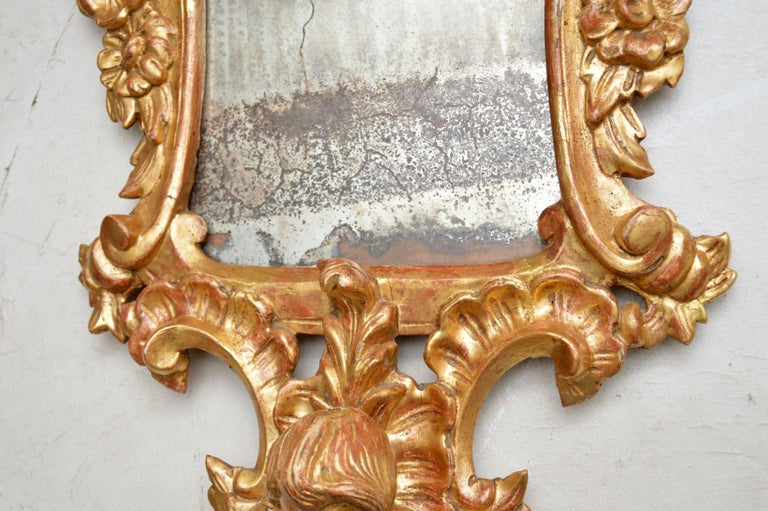 Pair of Antique French Gilt Wood Mirrors For Sale 4