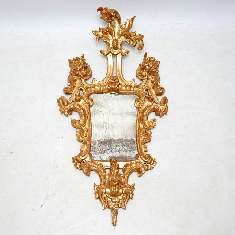 Pair of Antique French Gilt Wood Mirrors For Sale 5
