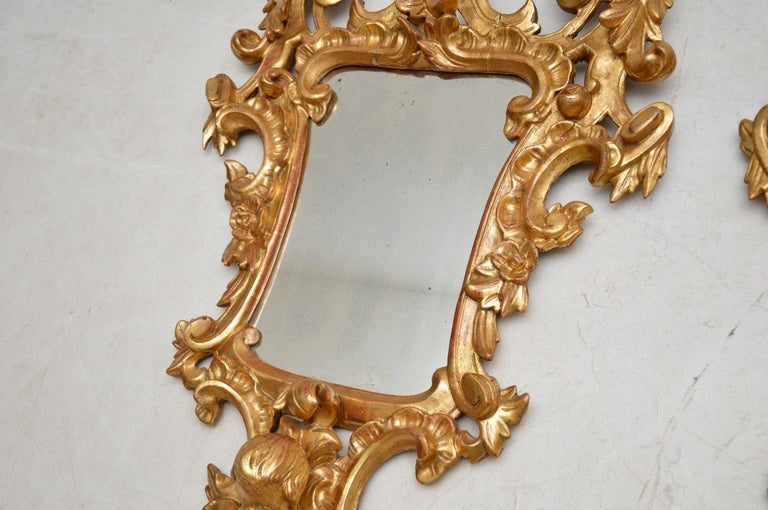 Pair of Antique French Gilt Wood Mirrors In Good Condition For Sale In London, GB