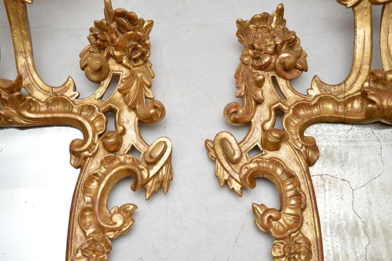 Pair of Antique French Gilt Wood Mirrors For Sale 3