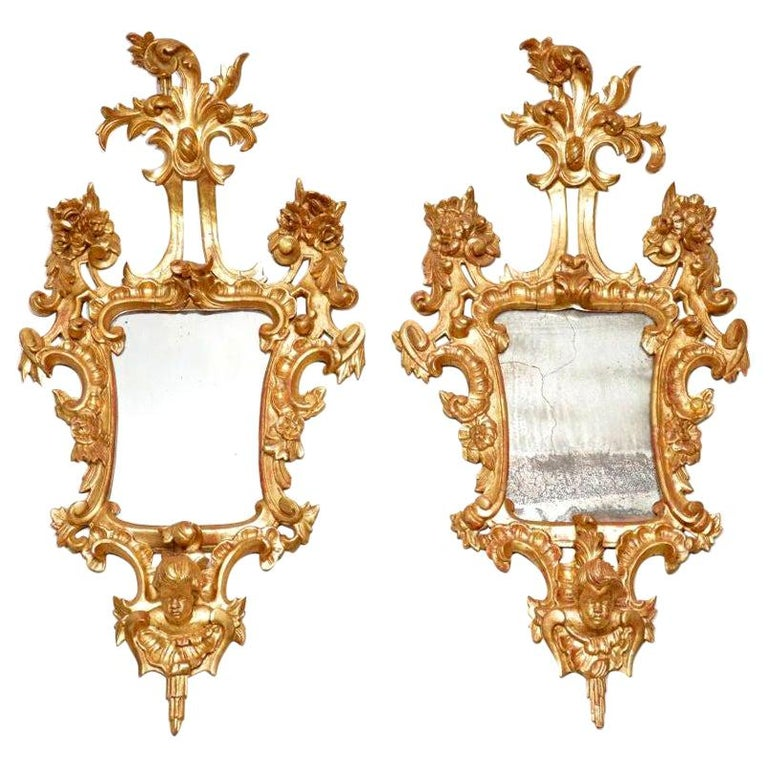 Pair of Antique French Gilt Wood Mirrors For Sale