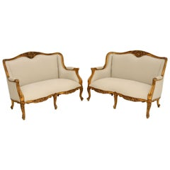 Pair of Antique French Gilt Wood Sofas