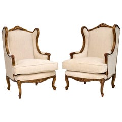 Pair of Antique French Giltwood Wingback Armchairs