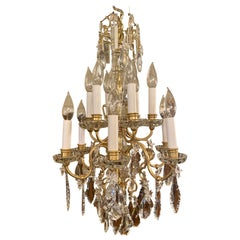 Pair of Antique French Gold Bronze and Baccarat Crystal Chandeliers, circa 1880