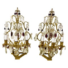 """Pair of Antique French Gold Bronze and Crystal """"Girondoles"""" Lamps, circa 1890"""