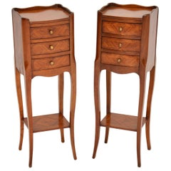 Pair of Antique French Inlaid King Wood Bedside Tables