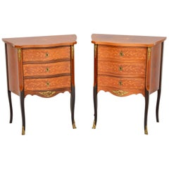 Pair of Antique French Inlaid Kingwood Chests