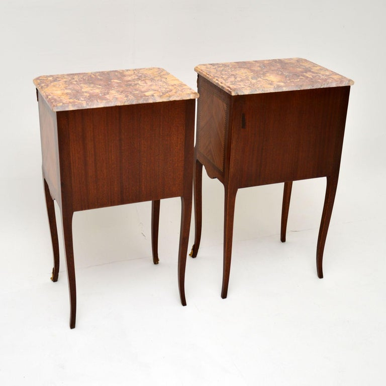 Pair of Antique French Inlaid Marble Top Bedside Chests For Sale 5