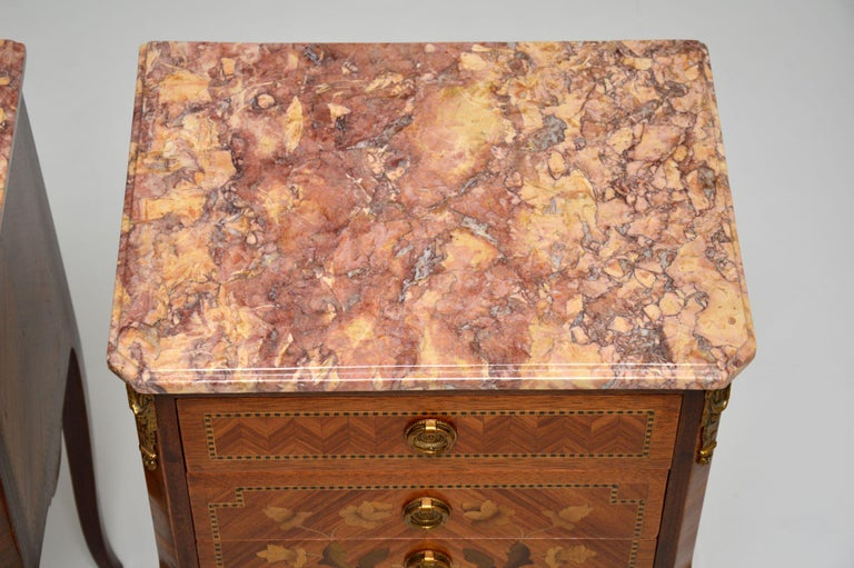 Pair of Antique French Inlaid Marble Top Bedside Chests For Sale 6
