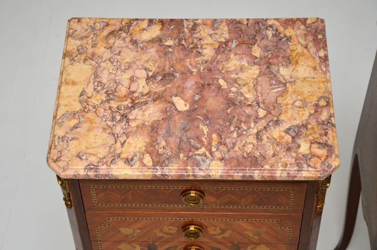 Pair of Antique French Inlaid Marble Top Bedside Chests For Sale 7
