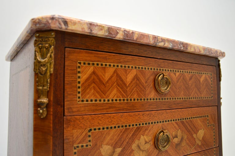 20th Century Pair of Antique French Inlaid Marble Top Bedside Chests For Sale