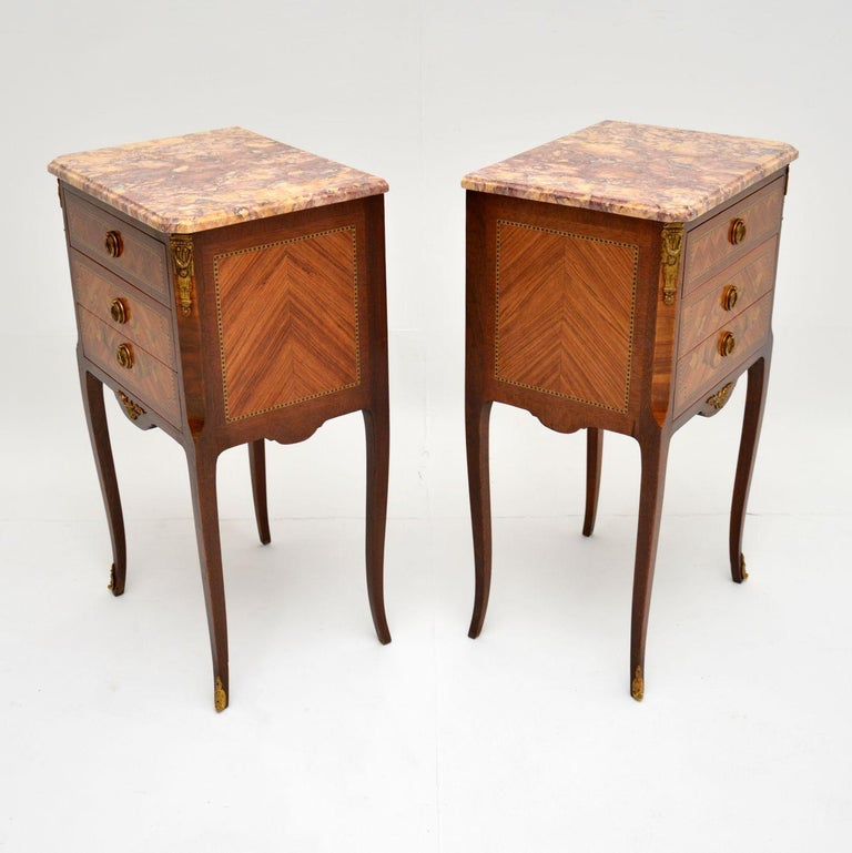 Pair of Antique French Inlaid Marble Top Bedside Chests For Sale 2