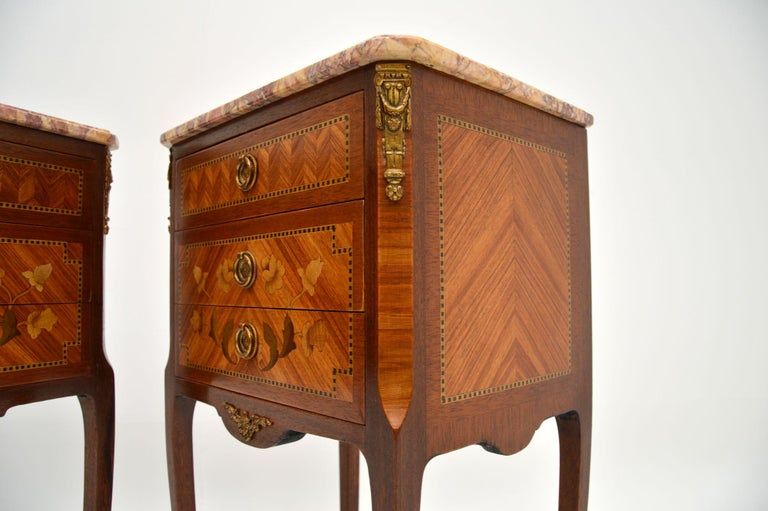 Pair of Antique French Inlaid Marble Top Bedside Chests For Sale 4