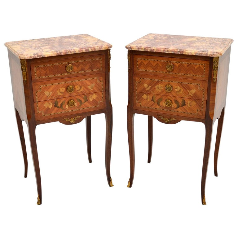 Pair of Antique French Inlaid Marble Top Bedside Chests For Sale