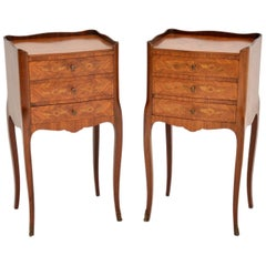 Pair of Antique French Inlaid Marquetry Bedside Chests