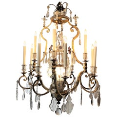 Pair of Antique French Iron and Crystal Chandeliers