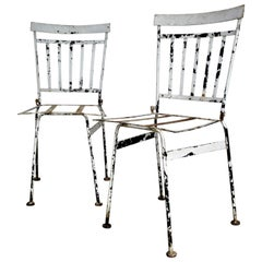 Pair of Antique French Iron Garden Bistro Chairs
