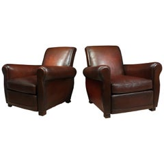 Pair of Antique French Leather Club Chairs, circa 1940