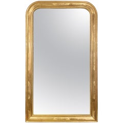Pair of Antique French Louis Philippe Gold Leaf Mirrors, circa 1890