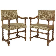 Pair of Antique French Louis XIII Armchairs