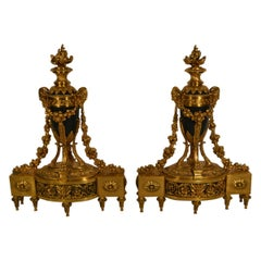 Pair of Antique French Louis XV Chenets