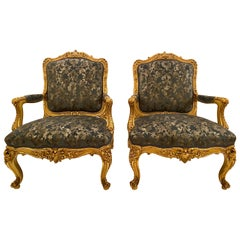 Pair of Antique French Louis XV Gold Leaf Armchairs