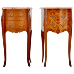Pair of Antique French Louis XV Marble & Marquetry Walnut Nightstands circa 1890