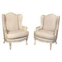 Pair of Antique French Louis XV Painted Bergère, Newly Upholstered