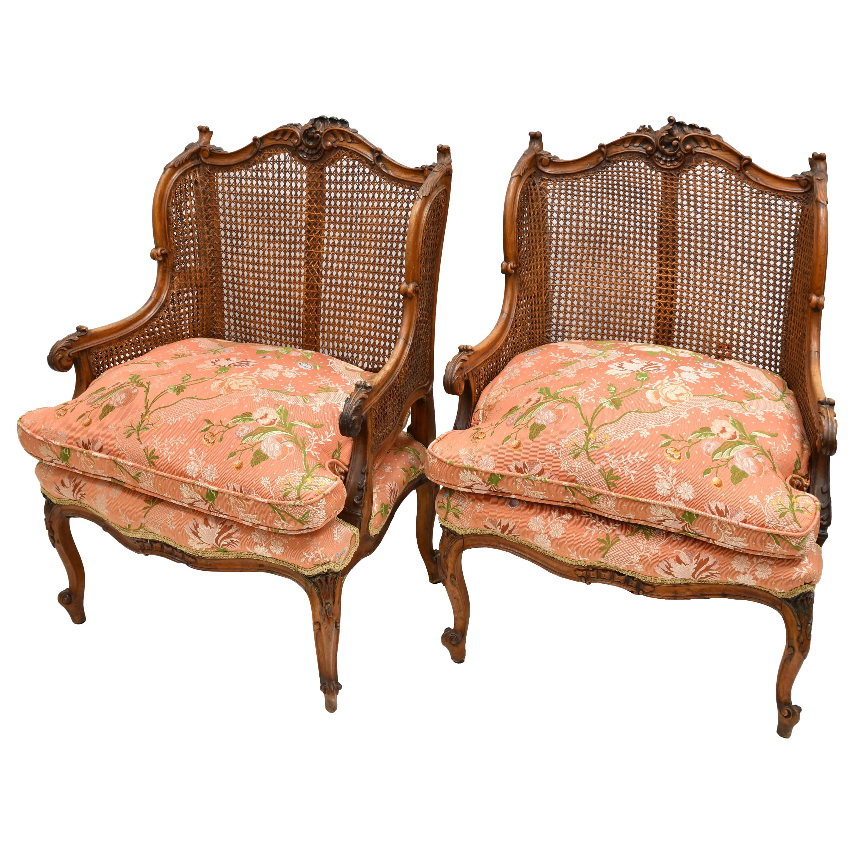 Pair of Antique French Louis XV Style Bergères/Armchairs w/ Caning & Upholstery