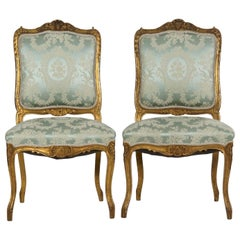 Pair of Antique French Louis XV Style Blue Silk Accent Side Chairs