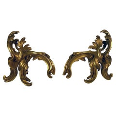 Pair of Antique French Louis XV Style Rococo Gilt Bronze Chenets