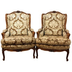 Pair of Antique French Louis XV Walnut Bergeres, Armchairs