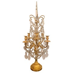 Pair of Antique French Louis XVI Baccarat and Ormolu Candelabra, circa 1880s