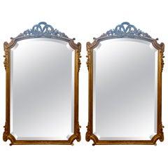 Pair of Antique French Louis XVI Beveled Mirrors, circa 1880
