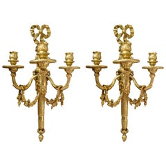 Pair of Antique French Louis XVI Bronze Doré Wall Sconces