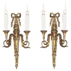 Pair of Antique French Louis XVI Bronze Sconces