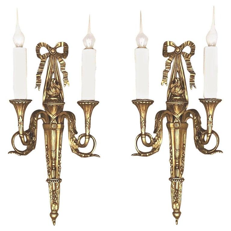 Pair of Antique French Louis XVI Bronze Sconces For Sale