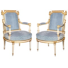 Pair of Antique French Louis XVI Carved Giltwood and Painted Armchairs