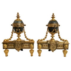 Pair of Antique French Louis XVI Marble and Bronze D'ore Chenets