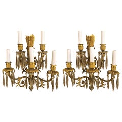 Pair of Antique French Louis XVI Ormolu and Crystal Sconces