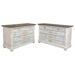 Pair of Antique French Louis XVI Painted Commodes