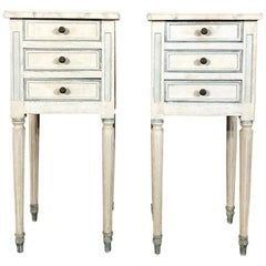 Pair of Antique French Louis XVI Painted Nightstands