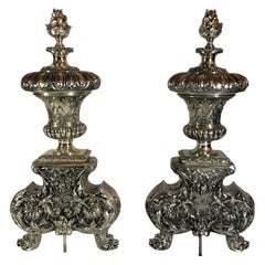 Pair of Antique French Louis XVI Silvered Bronze Andirons, circa 1810-20