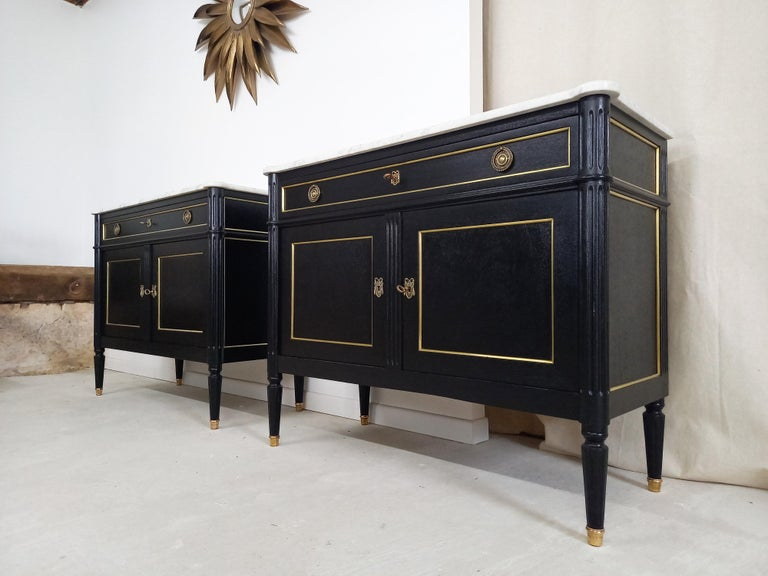 Pair of Antique French Louis XVI Style Chest of Drawers Commode Buffet Marble  For Sale 6