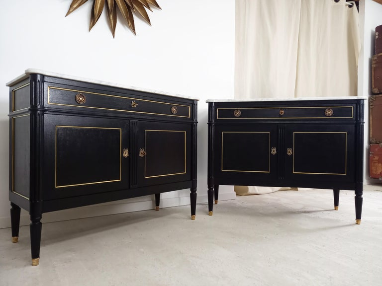 Pair of Antique French Louis XVI Style Chest of Drawers Commode Buffet Marble  For Sale 7