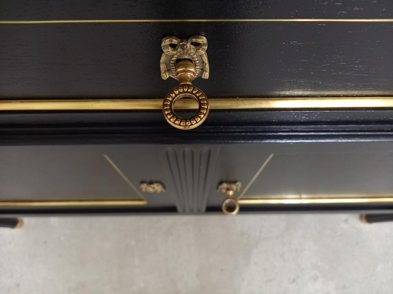 Pair of Antique French Louis XVI Style Chest of Drawers Commode Buffet Marble  For Sale 9